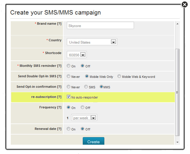 create your SMS or MMS campaign