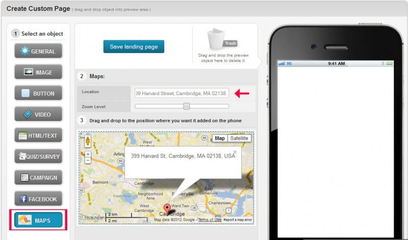 add interactive maps to mobile landing pages to pinpoint locations