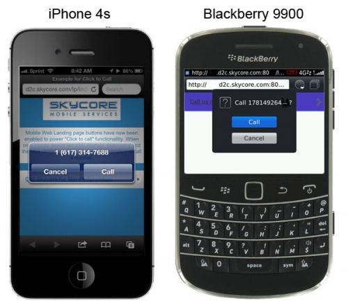 iphone 4s and blackberry 9900 previews of landing pages