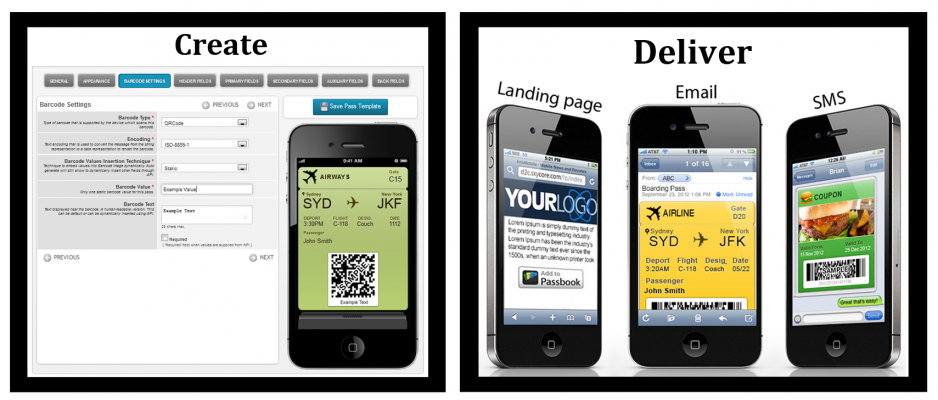 create passes and deliver landing pages emails and sms