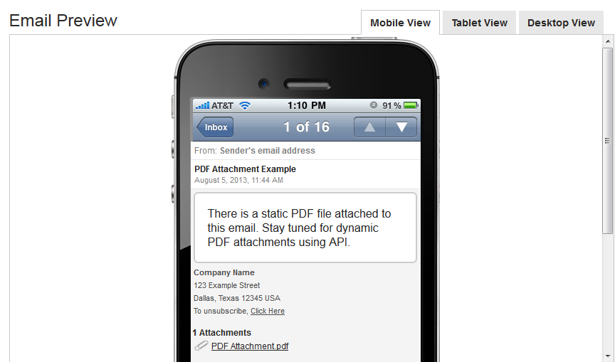 preview of editing a custom email template