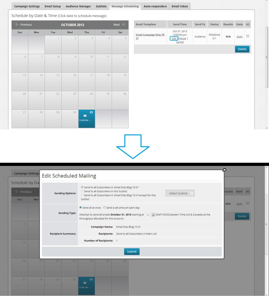 edit scheduled mailing calendar demonstration