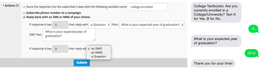 conduct sms surveys using daisy chains
