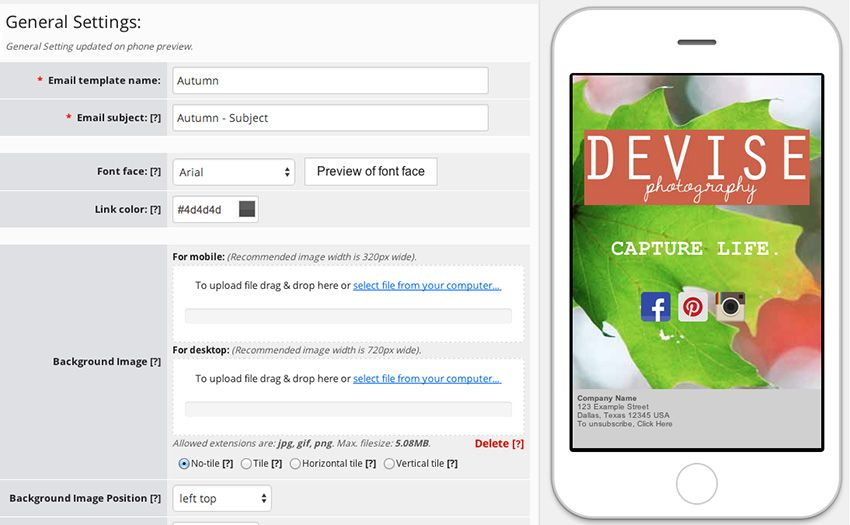 background responsive emails