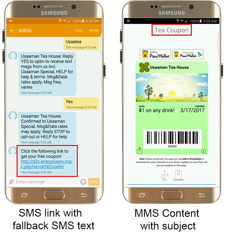 MMS Content within SMS Link