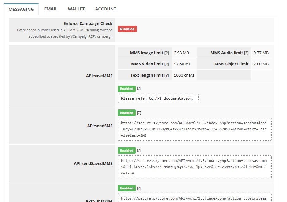 HTTP API - Messaging, Email, Wallet, and Account