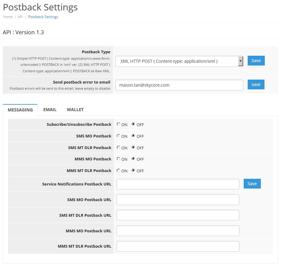 HTTP API Postback