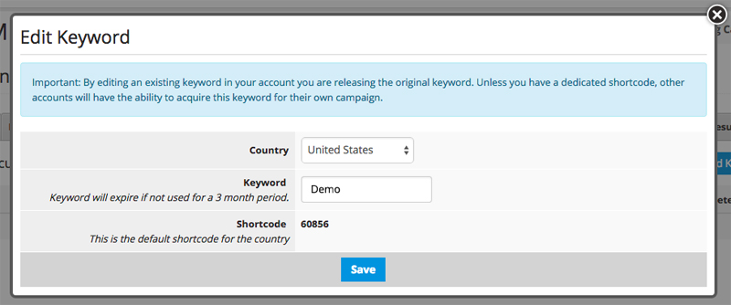 keyword to opt-in to text messaging campaigns