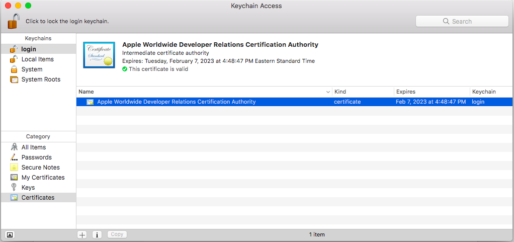 Access the Apple World Developer Intermediate Certificate in Keychain Access