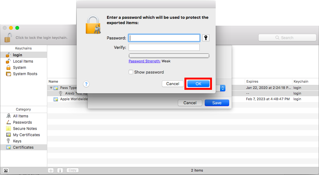 Create a password for your certificate files