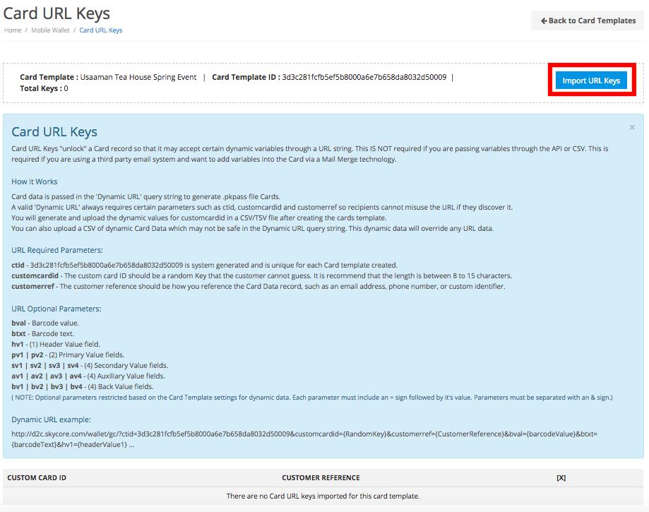 Import card URL keys