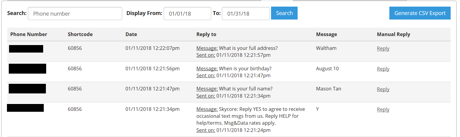 SMS Messaging Inbox