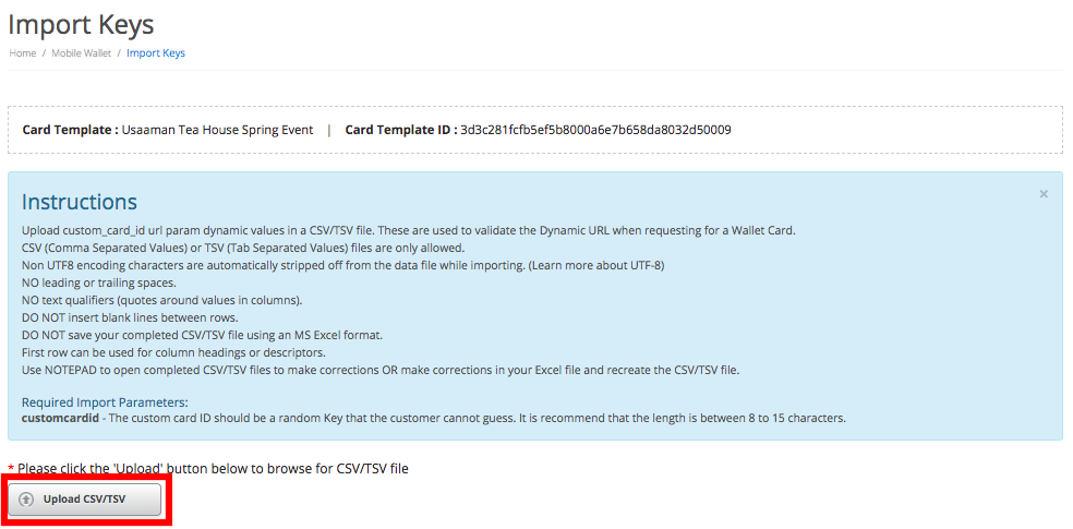 Import card URL keys with a CSV or TSV file