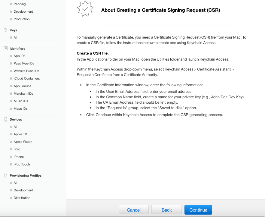 Information on Creating a Certificate Signing Request (CSR)