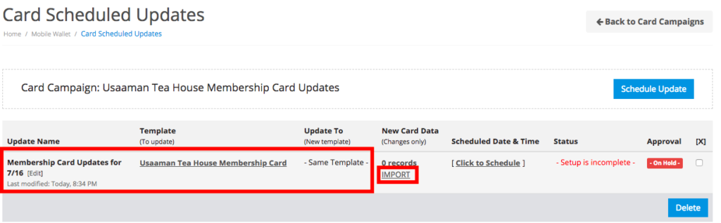 Import mobile wallet card update data