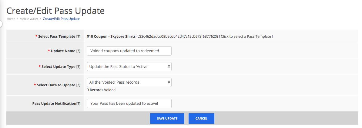 Create bulk pass update step 2