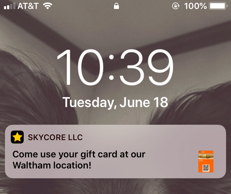Geofenced Notification for Apple Wallet