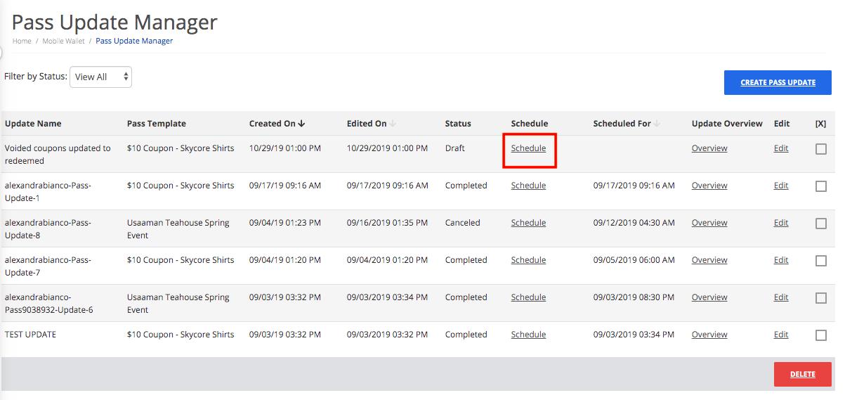 Schedule a bulk pass update