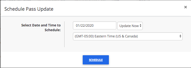 Schedule a bulk pass update step 2