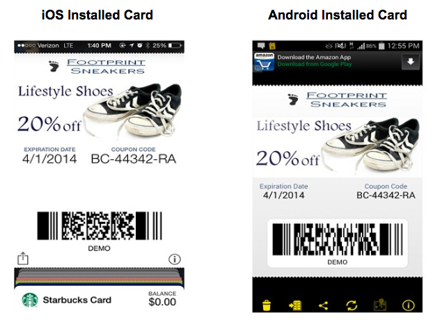 Installed mobile wallet card