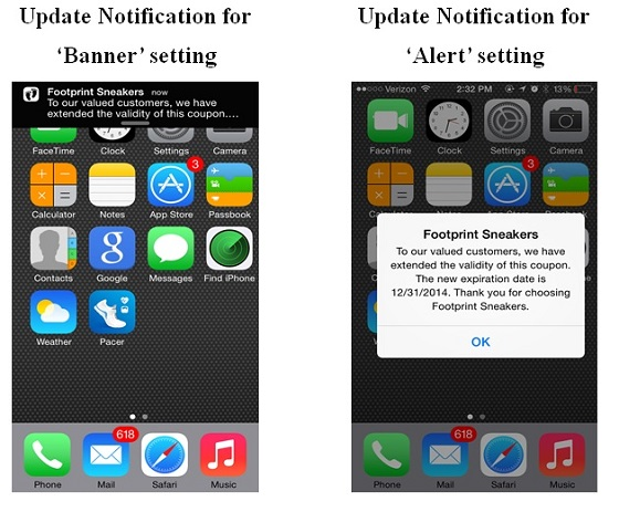 Apple banner and alert notification settings