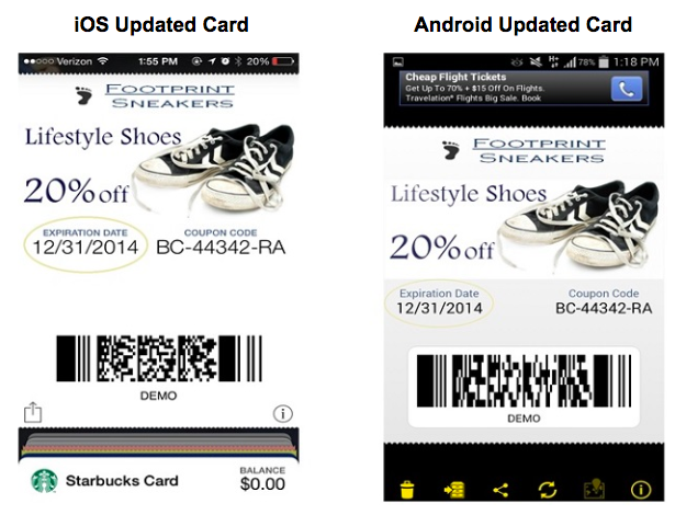Updated installed mobile wallet card