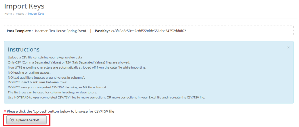 Upload data with a csv or tsv