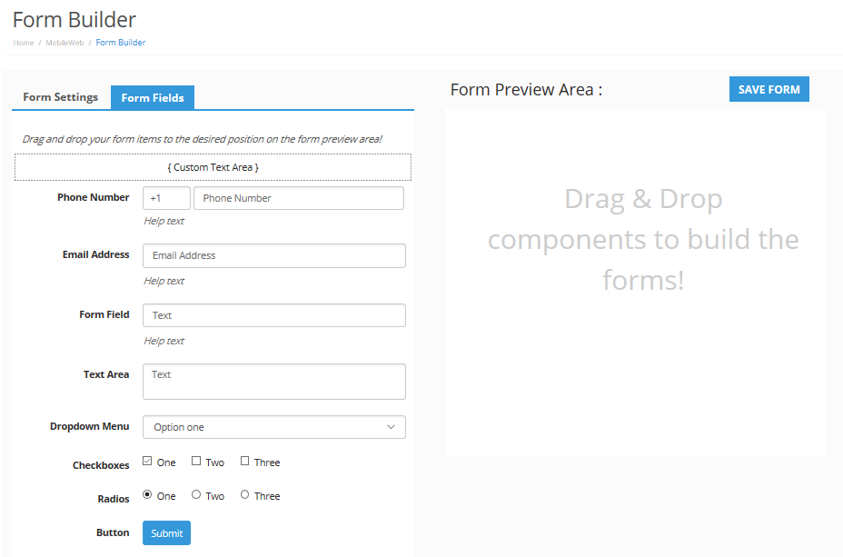 select opt-in form item