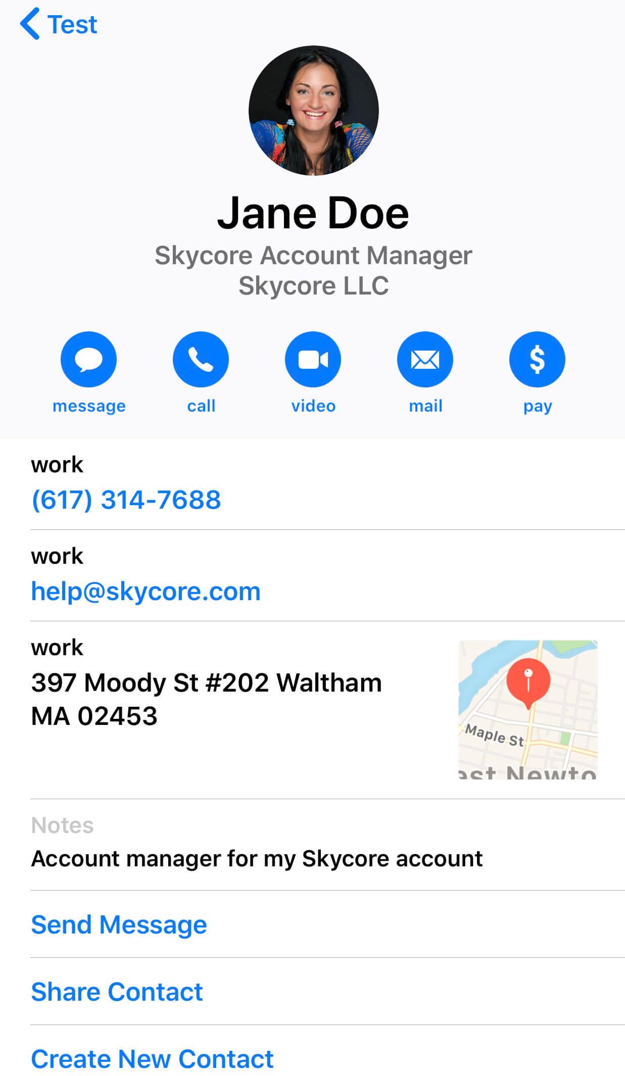 Digital business card viewed on IOS