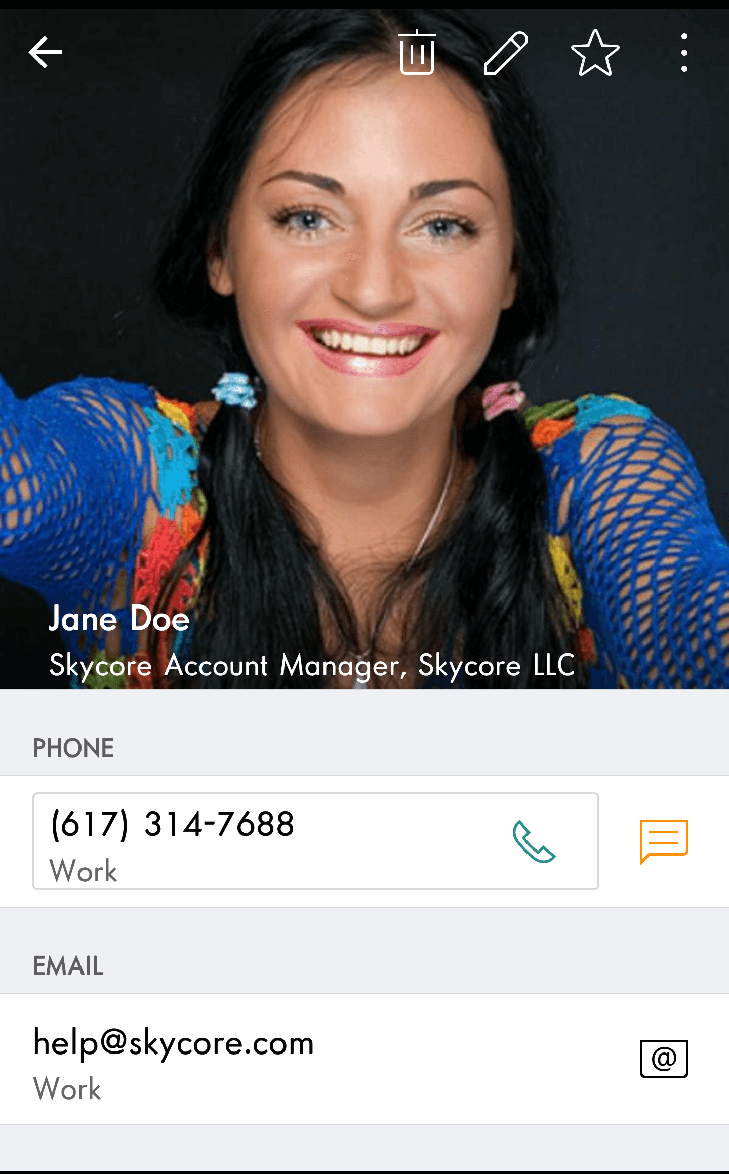 Digital business card viewed on Android