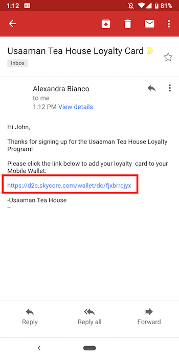Example of receiving a Google Pay Pass by email