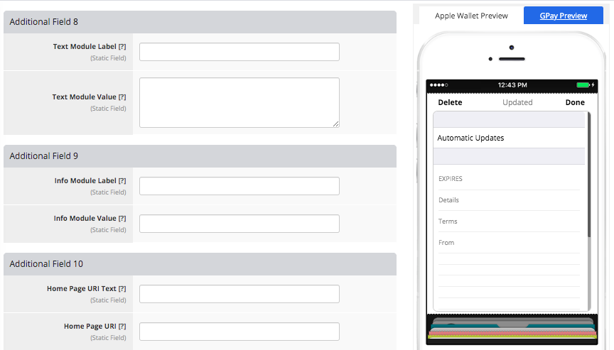 Coupon Pass Template Builder Additional Fields Tab 3
