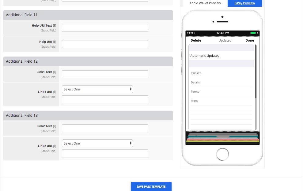 Coupon Pass Template Builder Additional Fields Tab 4