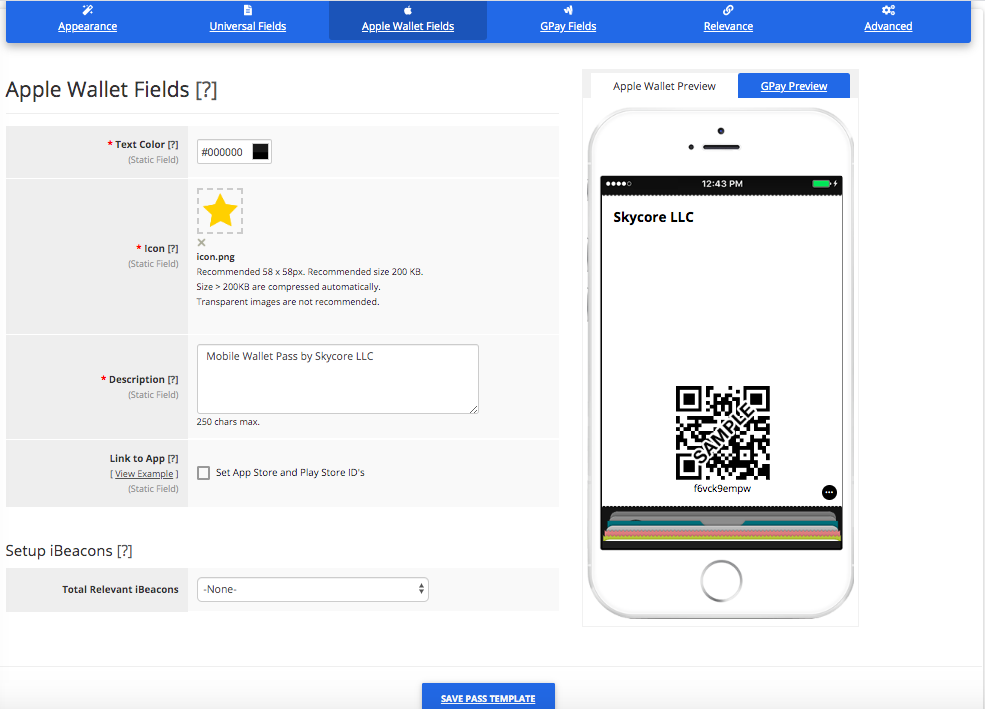 Coupon Pass Template Builder Apple Wallet Fields Tab