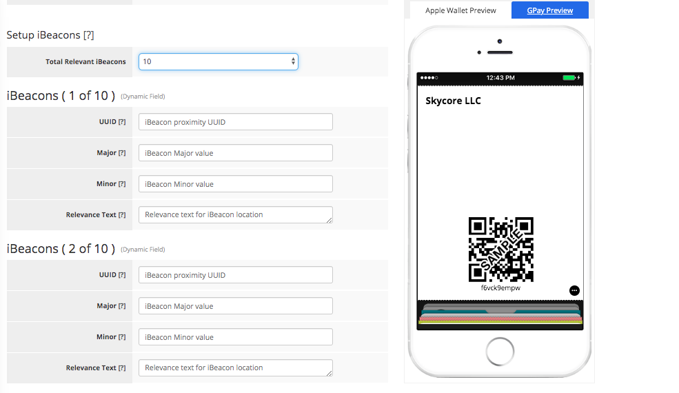 Coupon Pass Template Builder Apple Wallet Fields Tab 2 - iBeacons