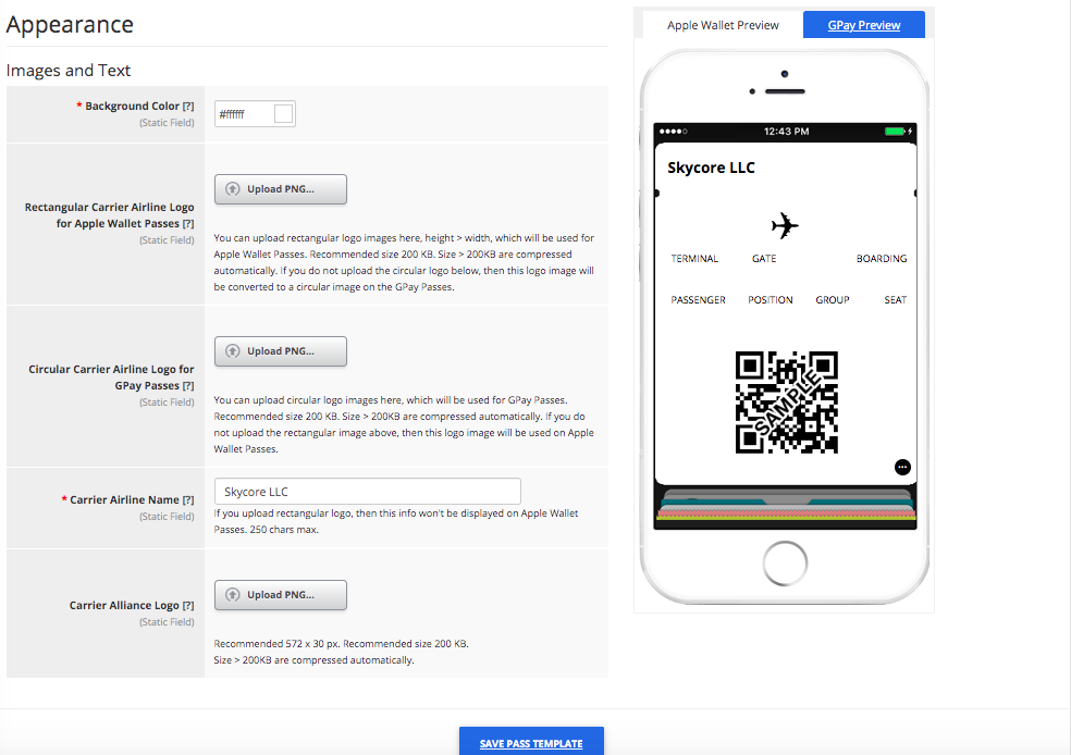 Boarding Pass Pass Template Builder Appearance Tab