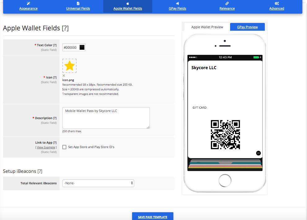 Gift Card Pass Template Builder Apple Wallet Fields Tab
