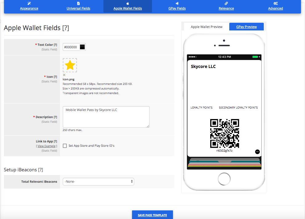 Loyalty Card Pass Template Builder Apple Wallet Fields Tab