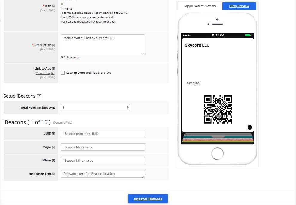 Gift Card Pass Template Builder Apple Wallet Fields Tab 2