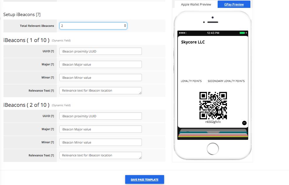 Loyalty Card Pass Template Builder Apple Wallet Fields Tab 2