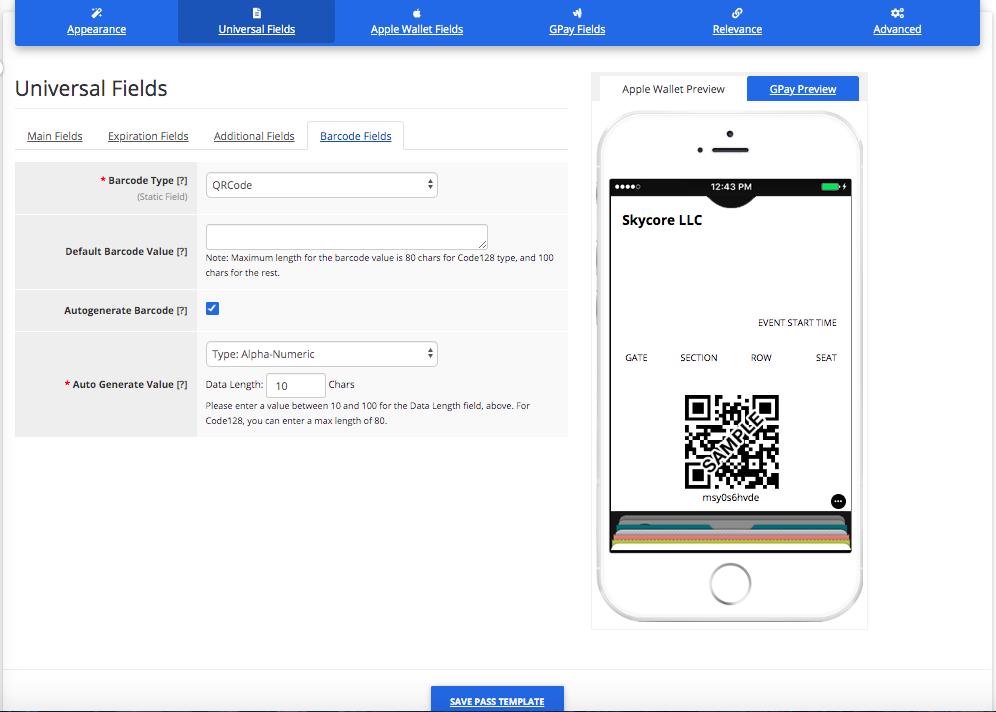 Barcode Fields for an Event Ticket Pass Template