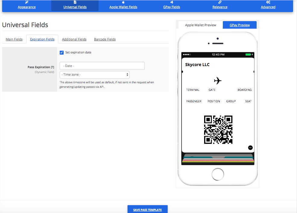 Expiration Fields for a Boarding Pass Template