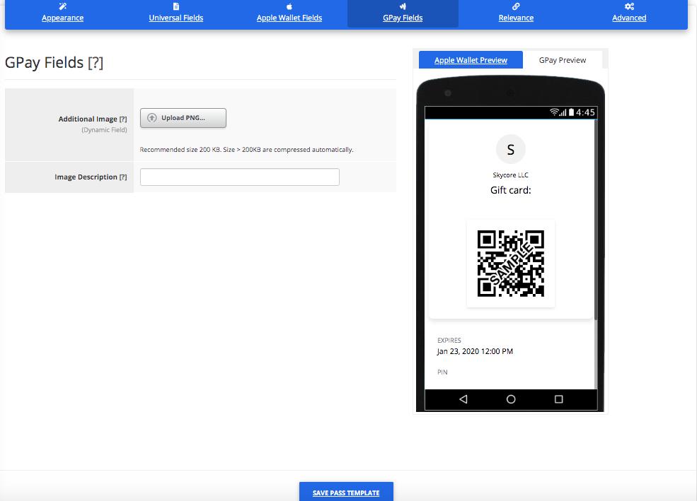Gift Card Pass Template Builder Google Pay Fields Tab