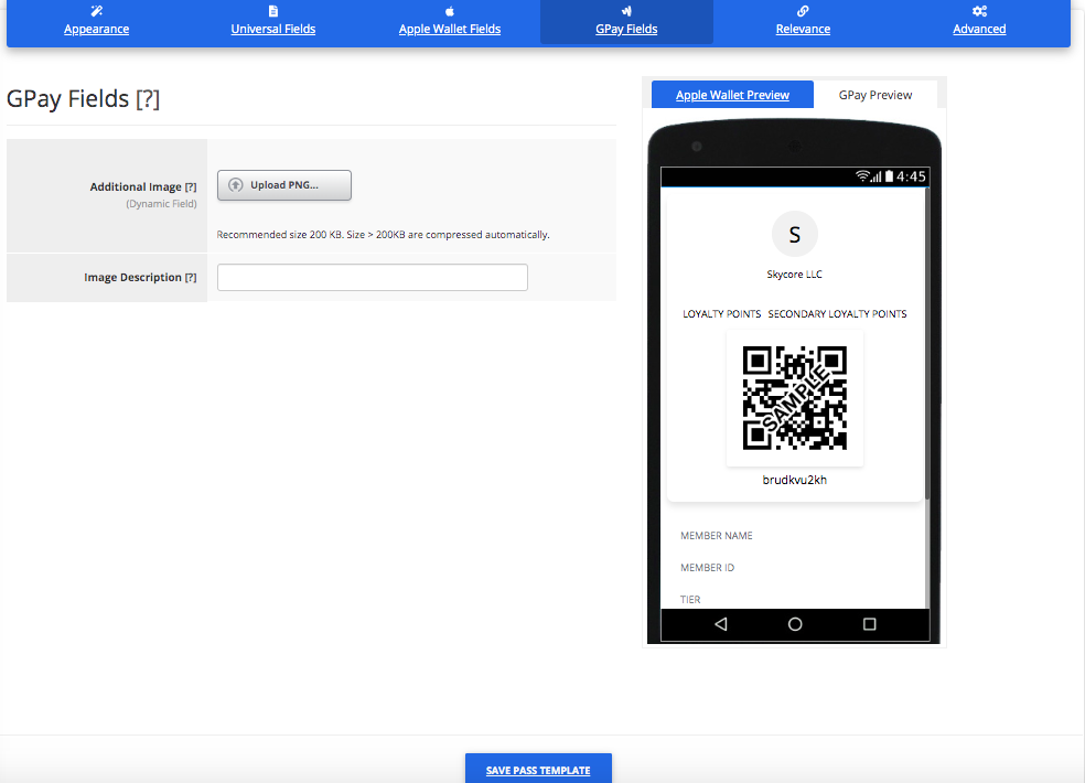 Loyalty Card Pass Template Builder Google Pay Fields Tab