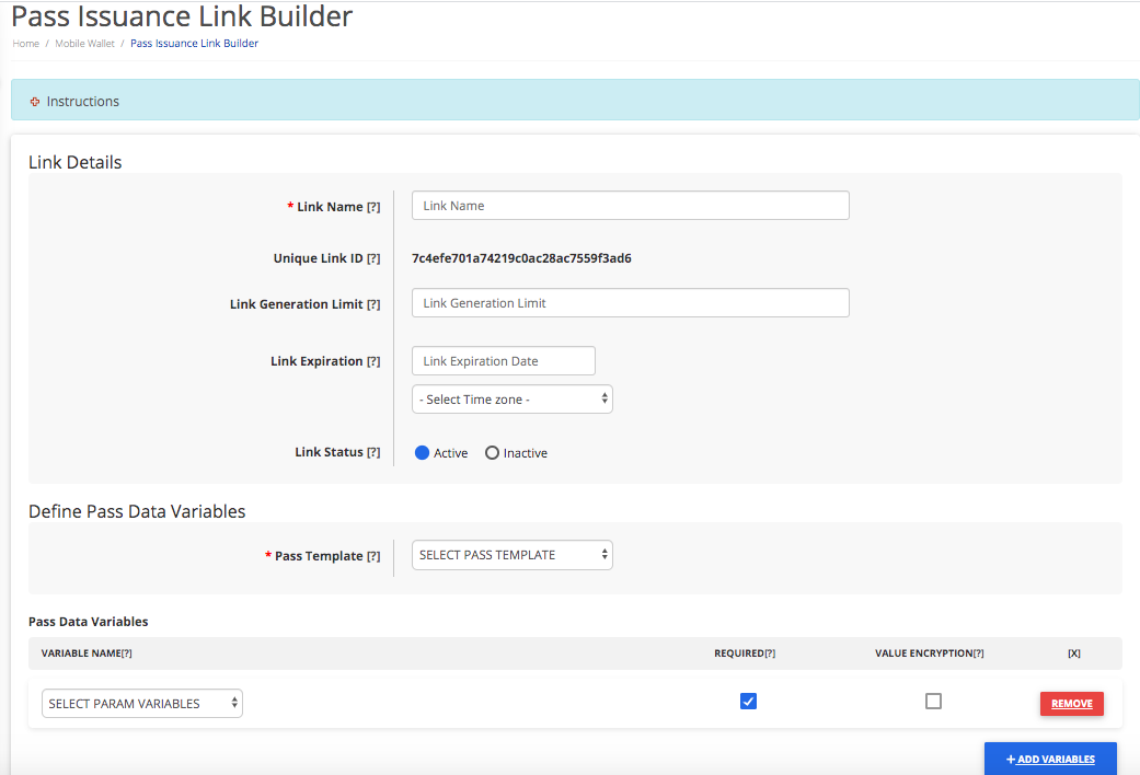 Pass Issuance Link Builder