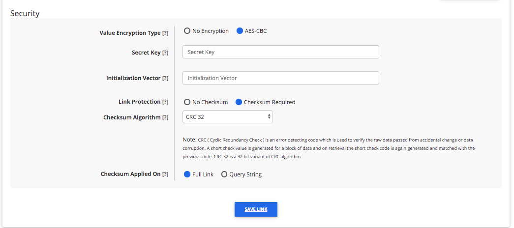 Pass Issuance Link Builder Security Settings