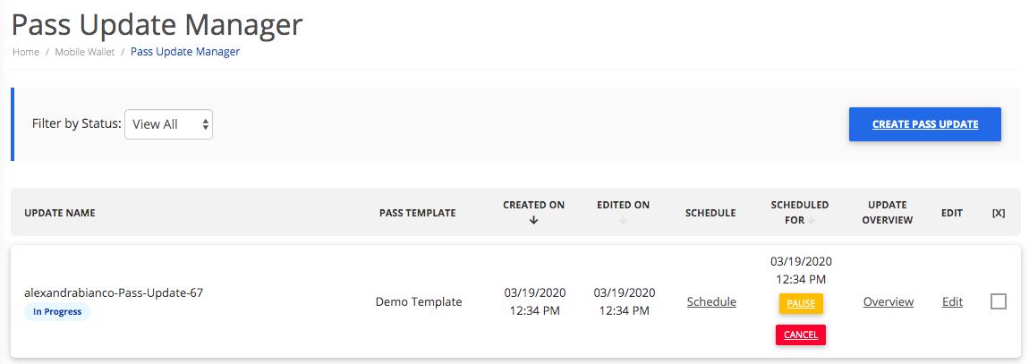 Pass Update in progress from a template update